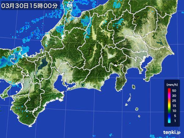 東海地方の雨雲レーダー(2016年03月30日)
