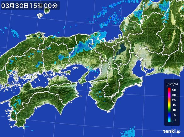 近畿地方の雨雲レーダー(2016年03月30日)