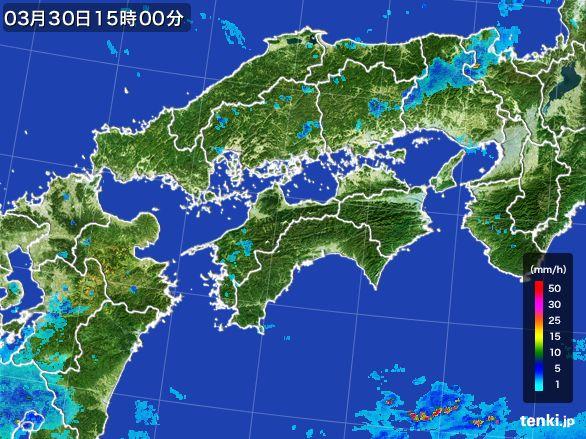 四国地方の雨雲レーダー(2016年03月30日)