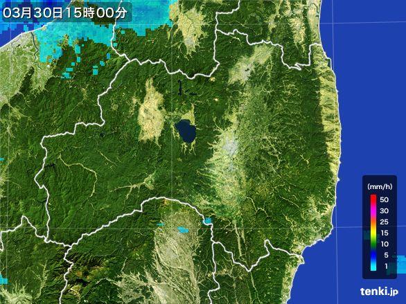 福島県の雨雲レーダー(2016年03月30日)
