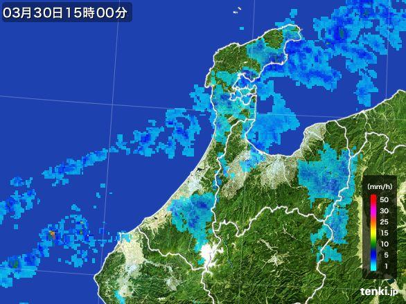 石川県の雨雲レーダー(2016年03月30日)