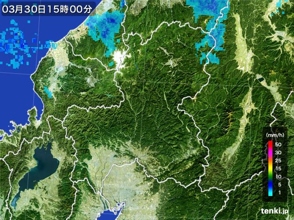 岐阜県の雨雲レーダー(2016年03月30日)