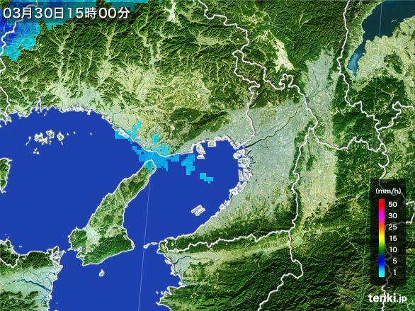 大阪府の雨雲レーダー(2016年03月30日)