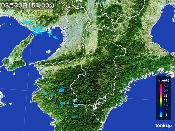 奈良県の雨雲レーダー(2016年03月30日)