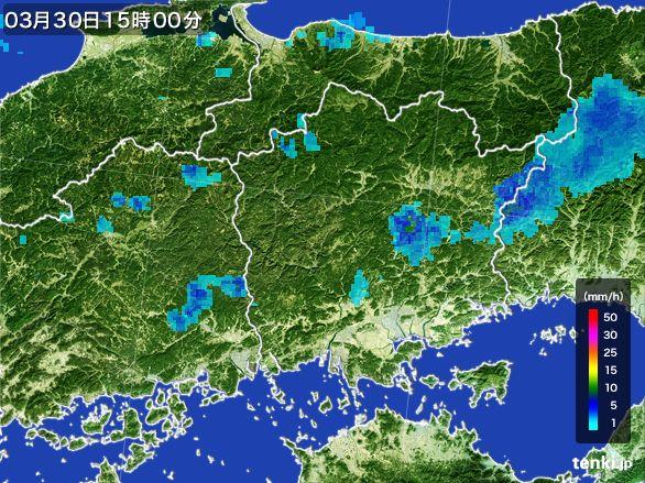 岡山県の雨雲レーダー(2016年03月30日)