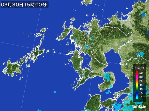 長崎県の雨雲レーダー(2016年03月30日)