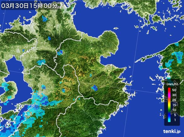 大分県の雨雲レーダー(2016年03月30日)