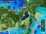 2016年04月01日の滋賀県の雨雲レーダー