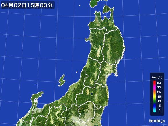東北地方の雨雲レーダー(2016年04月02日)