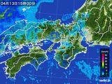 2016年04月13日の近畿地方の雨雲レーダー