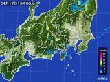 2016年04月17日の関東・甲信地方の雨雲レーダー