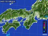 2016年04月17日の近畿地方の雨雲レーダー