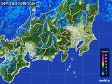 2016年04月28日の関東・甲信地方の雨雲レーダー