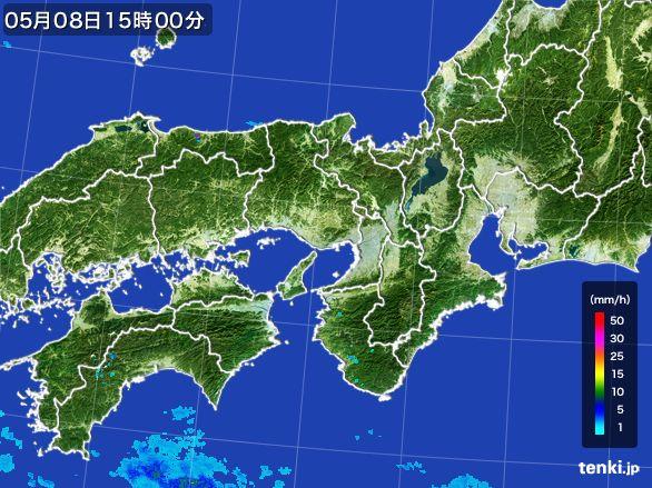 近畿地方の雨雲レーダー(2016年05月08日)