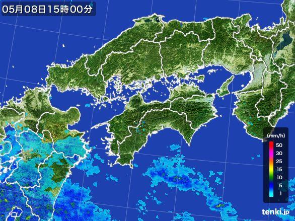 四国地方の雨雲レーダー(2016年05月08日)