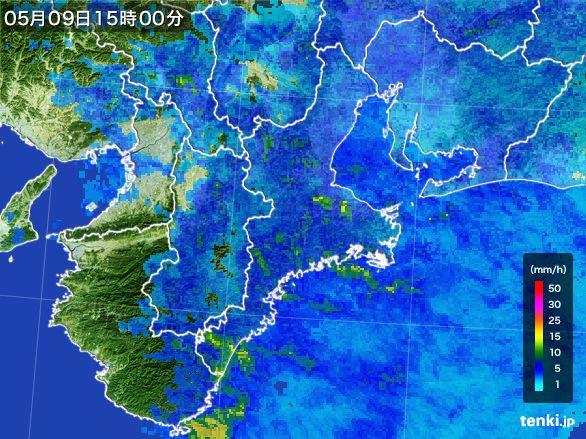 三重県の雨雲レーダー(2016年05月09日)