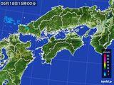 2016年05月18日の四国地方の雨雲の動き