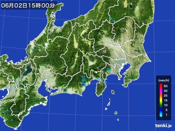 関東・甲信地方の雨雲レーダー(2016年06月02日)