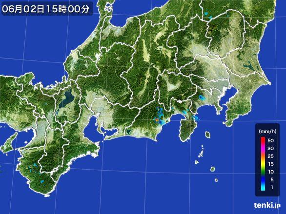 東海地方の雨雲レーダー(2016年06月02日)