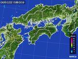 2016年06月02日の四国地方の雨雲の動き
