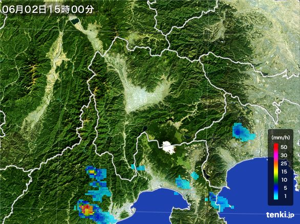 山梨県の雨雲レーダー(2016年06月02日)