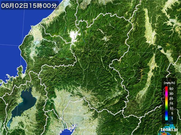 岐阜県の雨雲レーダー(2016年06月02日)