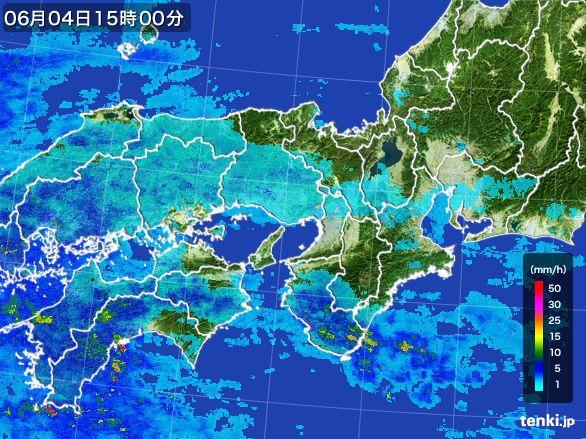 近畿地方の雨雲レーダー(2016年06月04日)