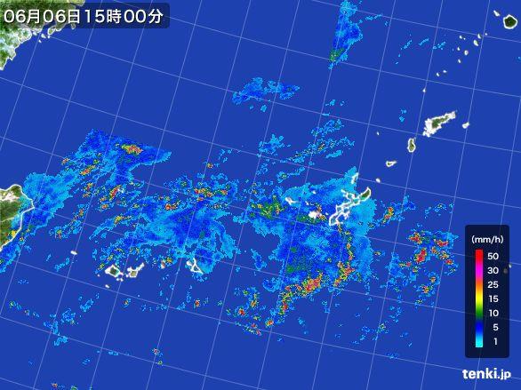 沖縄地方の雨雲レーダー(2016年06月06日)