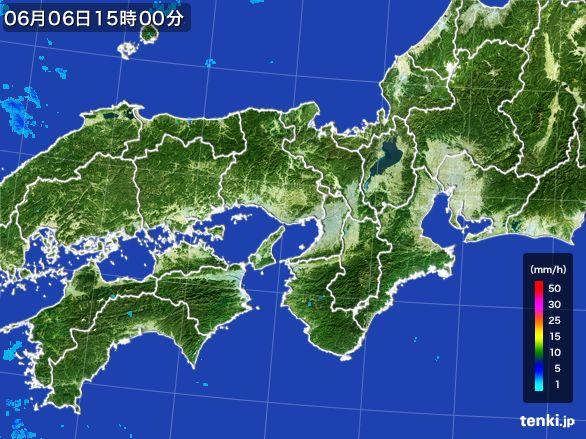 近畿地方の雨雲レーダー(2016年06月06日)