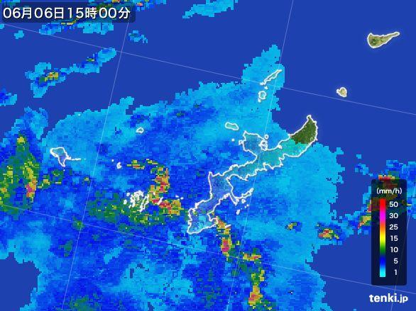 沖縄県の雨雲レーダー(2016年06月06日)