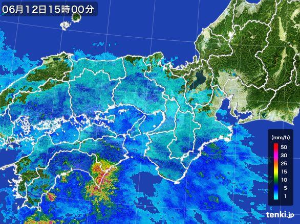 近畿地方の雨雲レーダー(2016年06月12日)
