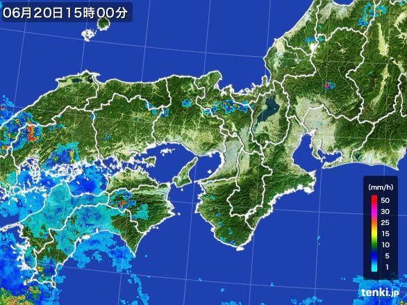 近畿地方の雨雲レーダー(2016年06月20日)