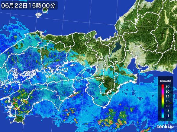 近畿地方の雨雲レーダー(2016年06月22日)