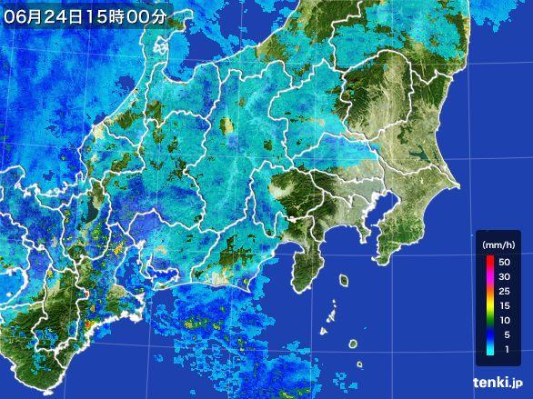 関東・甲信地方の雨雲レーダー(2016年06月24日)