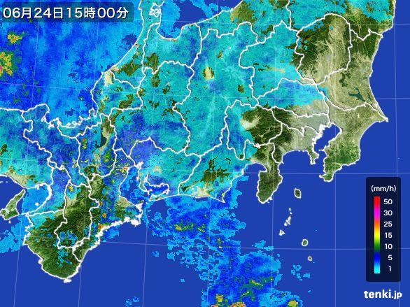 東海地方の雨雲レーダー(2016年06月24日)