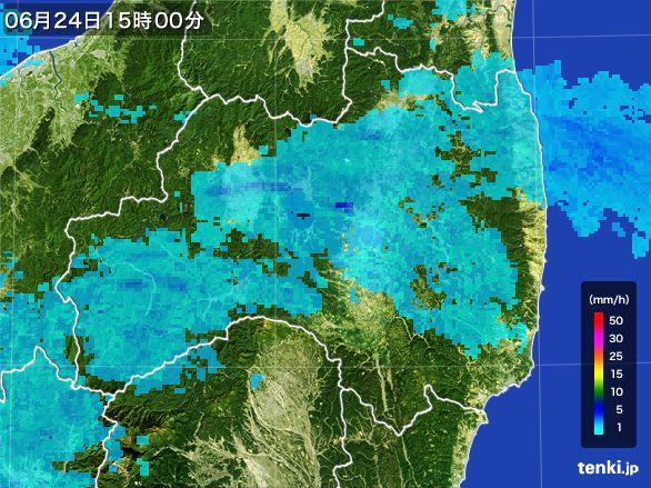福島県の雨雲レーダー(2016年06月24日)