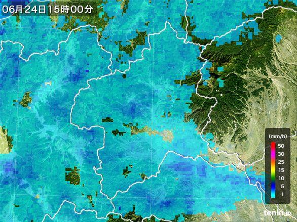 群馬県の雨雲レーダー(2016年06月24日)