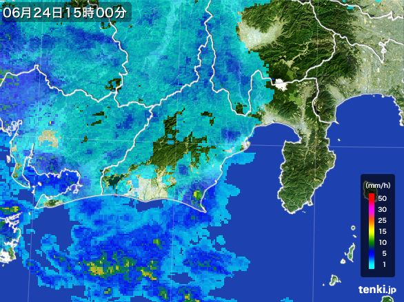 静岡県の雨雲レーダー(2016年06月24日)