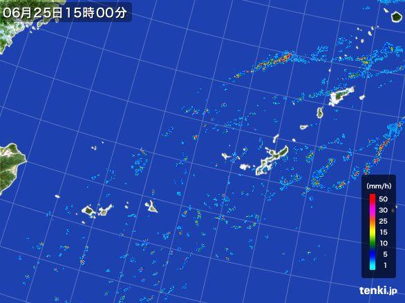 沖縄地方の雨雲レーダー(2016年06月25日)