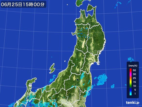 東北地方の雨雲レーダー(2016年06月25日)