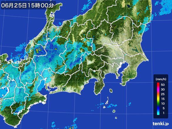 関東・甲信地方の雨雲レーダー(2016年06月25日)