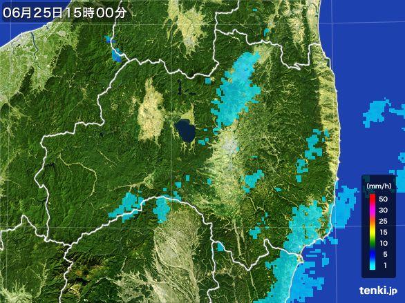 福島県の雨雲レーダー(2016年06月25日)