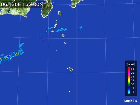 伊豆諸島(東京都)の雨雲レーダー(2016年06月25日)