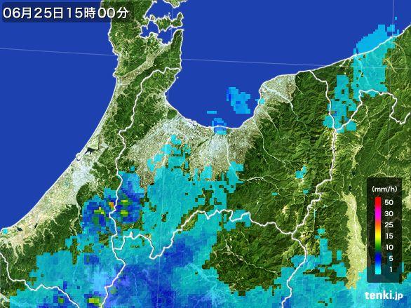 富山県の雨雲レーダー(2016年06月25日)