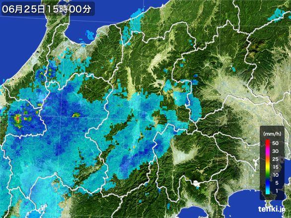 長野県の雨雲レーダー(2016年06月25日)