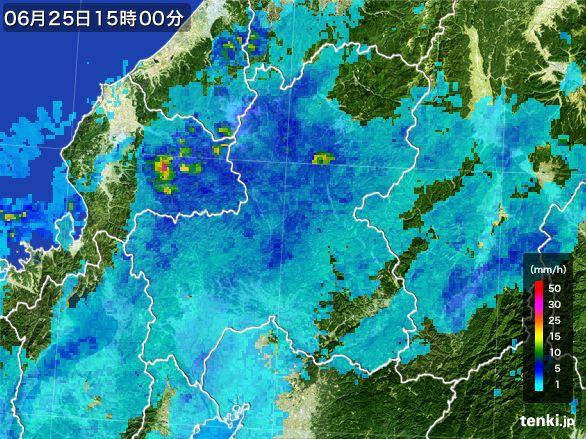 岐阜県の雨雲レーダー(2016年06月25日)