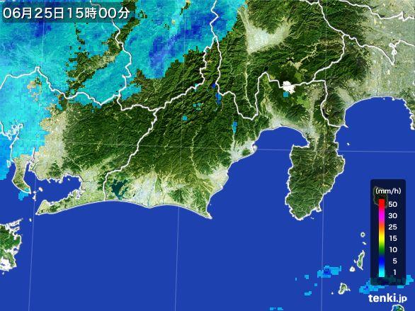 静岡県の雨雲レーダー(2016年06月25日)