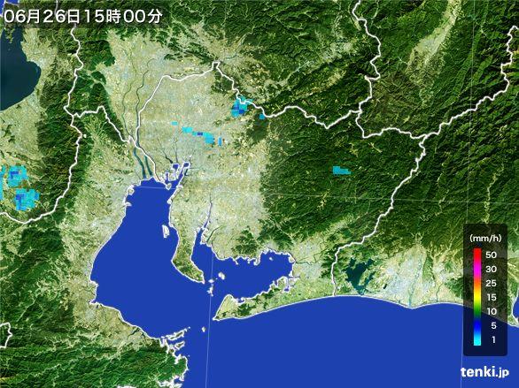 愛知県の雨雲レーダー(2016年06月26日)