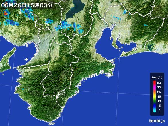 三重県の雨雲レーダー(2016年06月26日)