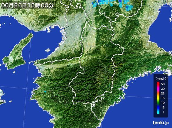 奈良県の雨雲レーダー(2016年06月26日)